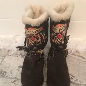 Cute Ed Hardy Brown Ugg Like Boots